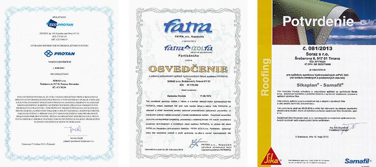 Soraz - certifikáty